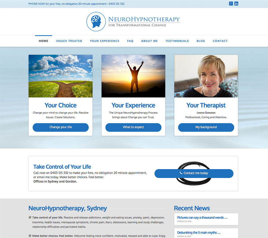 NeuroHypnotherapy website built by Rapid Websites