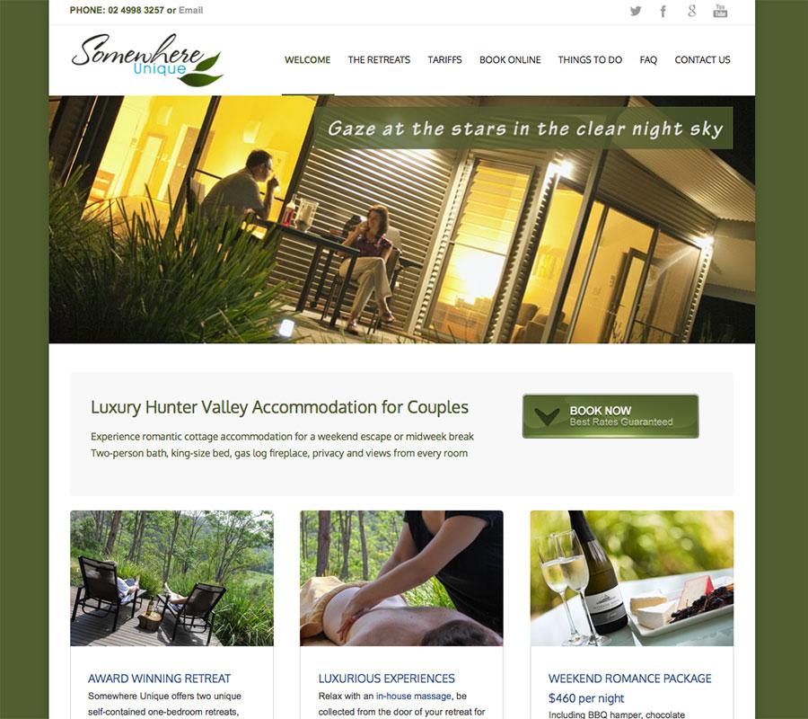 Somewhere Unique website built by Rapid Websites